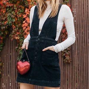 Free People Overall Skirt Dress in Black Denim
